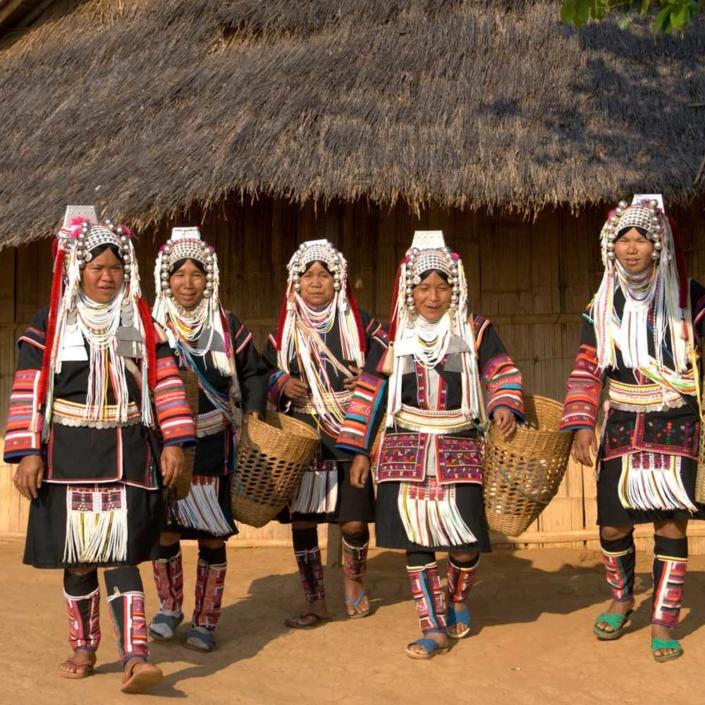라오스 소수민족 어카족 여자들